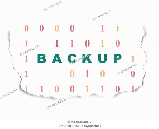 Database concept: Backup on Torn Paper background