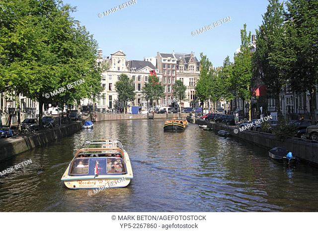 Herengracht canal view from Koningsplein in Central Canal Ring District Amsterdam
