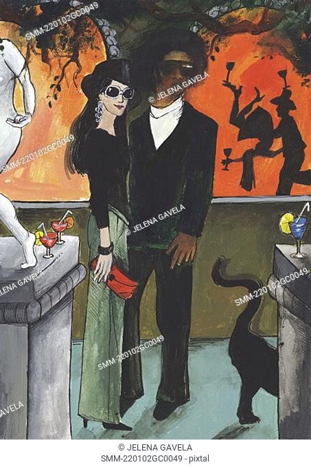 Multiracial couple at a nightclub