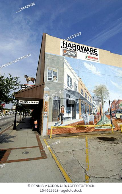 Famous artistic painted murals on buildings in Historic downtown Kissimmee. Florida. USA