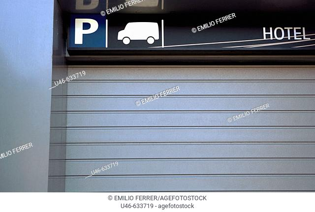 Parking and hotel sign. Barcelona. Catalonia. Spain
