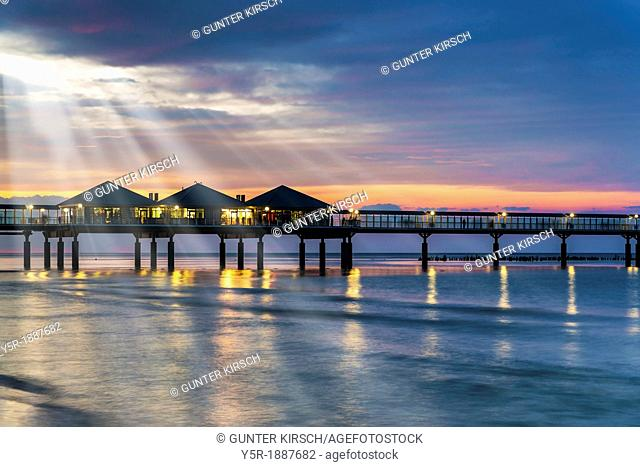 The Heringsdorf Pier is a pier at the Baltic Sea The pier is 508 meters long It was built in 1995, Heringsdorf, Usedom Island, County Vorpommern-Greifswald