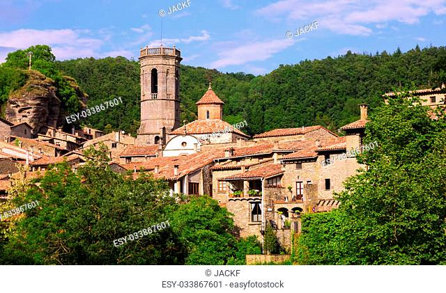General view of old catalan village in summer day. Besalu, Catalonia, Spain