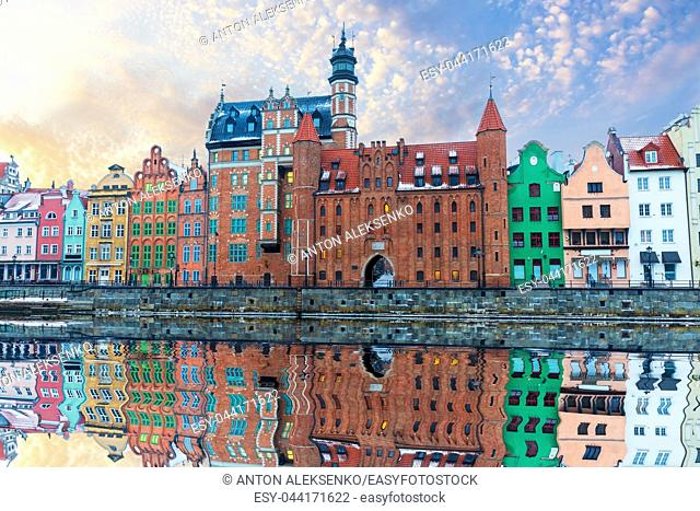 Colorful buildings of Gdansk by the Motlawa river, Poland