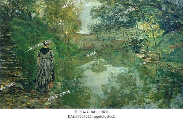 Upper Brianza, by Emilio Gola (1851-1923), oil on canvas, 80x125 cm.  Private Collection
