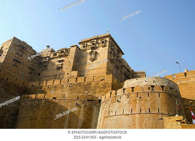 Decorative outer wall of the fort, Jaisalmer, Rajasthan, India