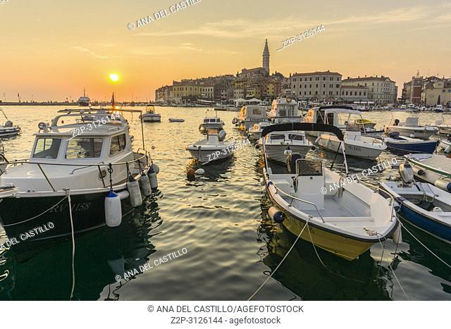 ROVINJ CROATIA ON AUGUST 19, 2018: Sunset in Rovinj medieval city in Istria Croatia