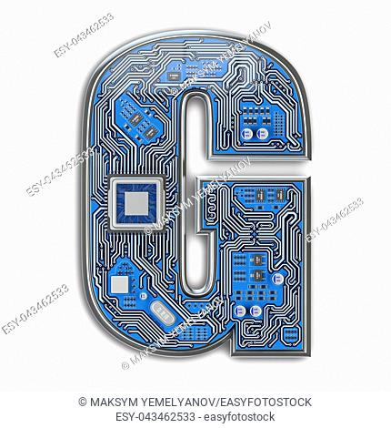 Letter G. Alphabet in circuit board style. Digital hi-tech letter isolated on white. 3d illustration