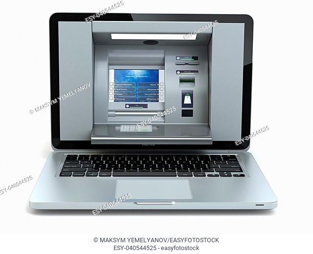 Online banking and payment concept. Laptop as ATM machine isolated on white background. 3d illustration