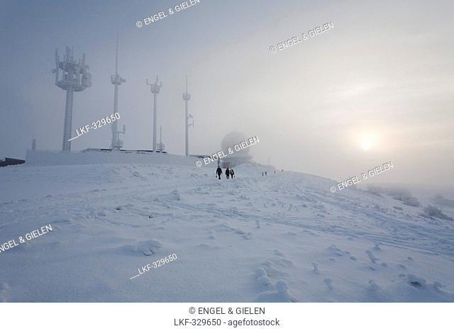 Winter stroll on Wasserkuppe Mountain, near Gersfeld, low mountain range, Rhoen, Hesse, Germany