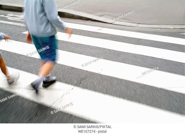Children walking across a zebra crossing on a city street, Paris, France
