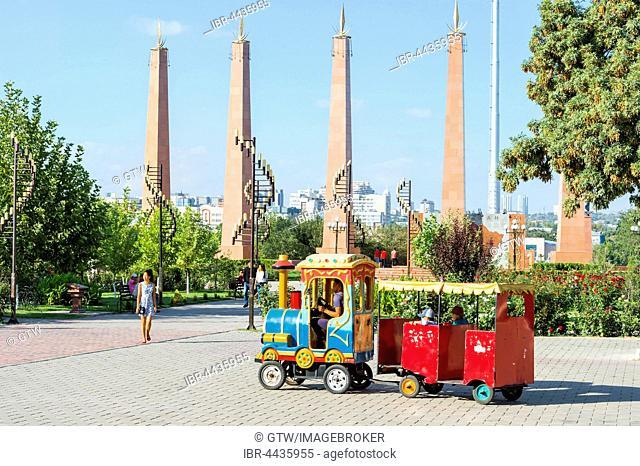 Granite obelisks and lamp posts, Independence Park, Shymkent, South Kazakhstan Region, Kazakhstan