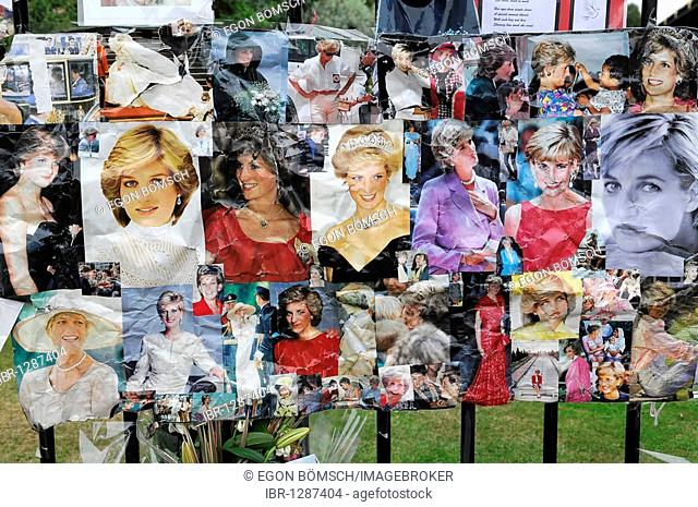 Pictures, memories of Princess Diana, died in 1997, entrance gate, Kensington Palace, London, England, United Kingdom, Europe