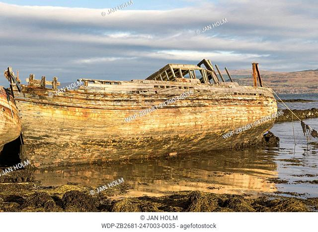 Fishing boat wreck at Salen on The Isle of Mull