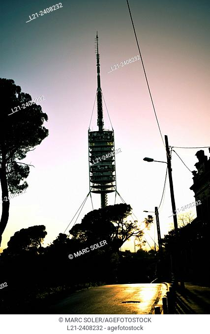 Telecommunications tower designed by Norman Foster architect. Collserola at sunset. Barcelona, Catalonia, Spain