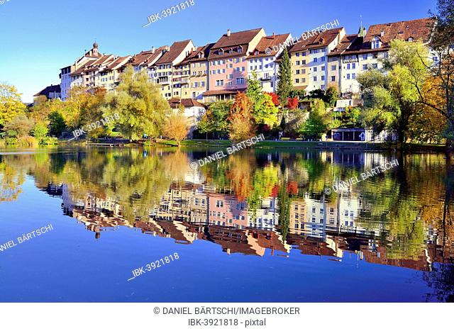 Historic centre of Wil with reflection in pond of municipal park, Canton of St. Gallen, Switzerland