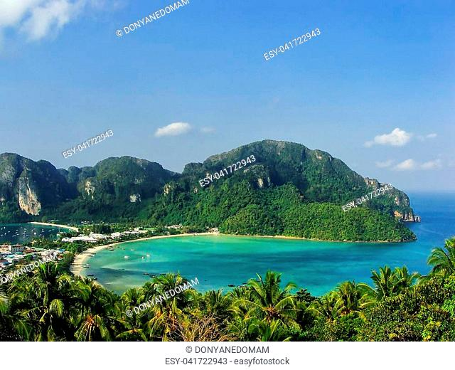 View of Phi Phi Don Island from an overlook, Krabi Province, Thailand. Koh Phi Phi Don is part of a marine national park