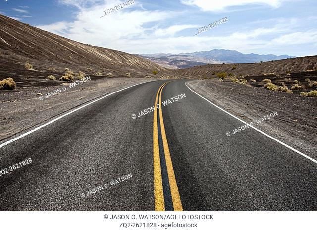 Road passing through Death Valley National Park, California, United States of America