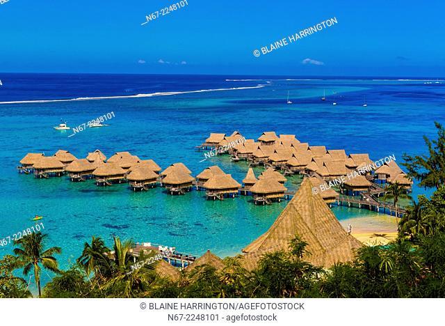 Overview of Hotel Sofitel Moorea Ia Ora Beach Resort, island of Moorea, French Polynesia