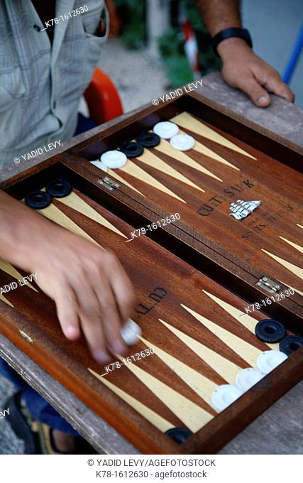 people playing backgammon, Rhodes old Town, Rhodes, Greece