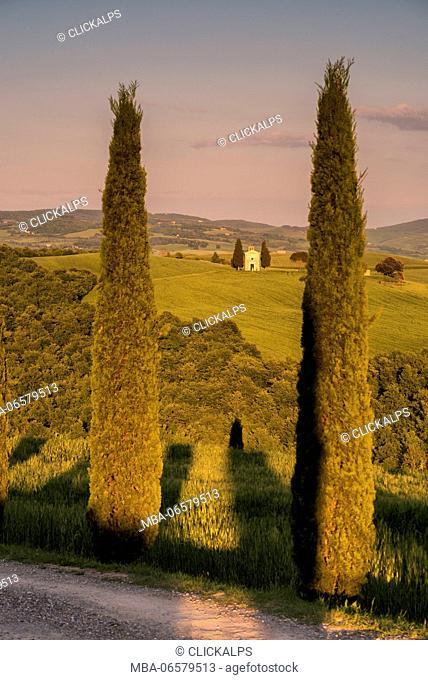 Europe, Italy, Vitaleta Chapel in Orcia Valley, province of Siena, Tuscany