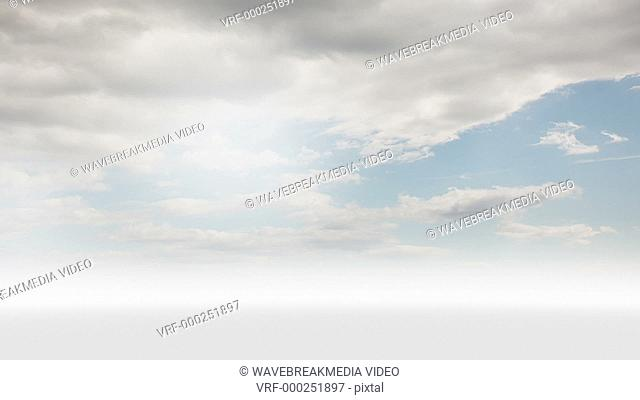 Digital animation of businesswoman looking at steps with a floating word in the sky