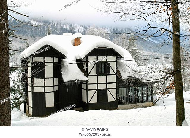 A house covered in snow, Bled, Slovenia