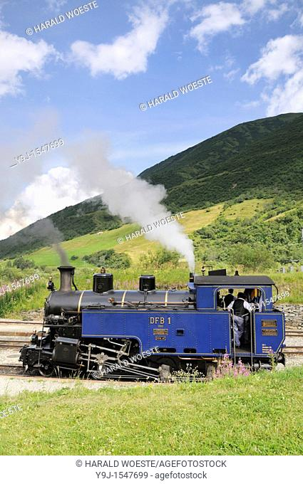 Furka cogwheel railway steam engine shunting at Realp station  Switzerland, Western Europe, Grimsel-/Furka region, Uri  The steam engine HG 3/4 No  1 Furkahorn...