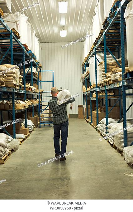Rear view of man carrying sack of grain