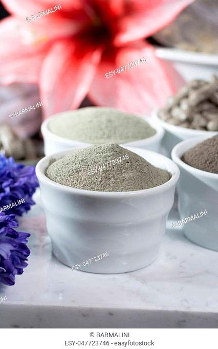 Ancient minerals - luxury face and body spa treatment, clay powder and mask , green, blue and black clay