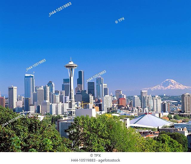10519883, USA, America, North America, Washington State, Seattle, skyline, Mount Rainier