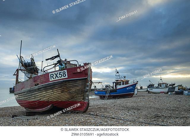 Fishing boats on Hastings beach, East Sussex, England