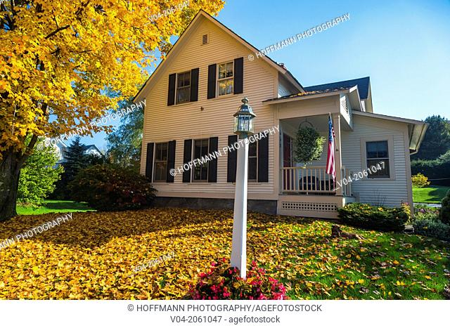 House with colorful tree in autumn in Weston, Vermont, USA
