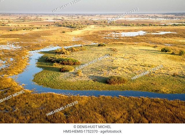 Botswana, Okavango Delta listed as World Heritage by UNESCO (aerial view)