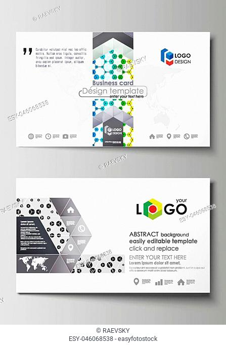 Business card templates. Easy editable layout, abstract vector design template. Chemistry pattern, hexagonal design molecule structure, scientific