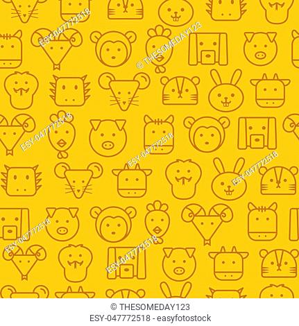 Different line style icons seamless pattern, icons set, Zodiac