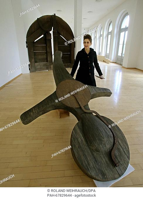 Curator Valentina Vlasic stands next to the work 'Buedrich memorial' by Joseph Beuys in the Kurhaus Museum inKleve, Germany, 28 April 2016