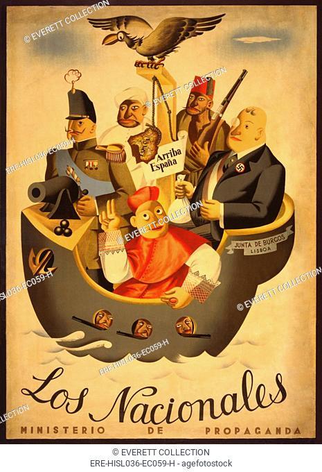 THE NATIONALISTS. 1936 Spanish Civil War poster presenting Republican anti-Franco propaganda. Ca. 1936-39. Five figures represent the interests backing the...