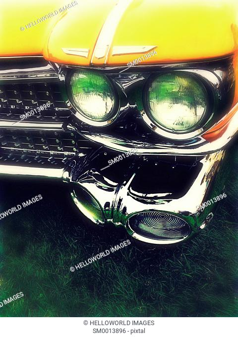 American classic car headlights and chrome