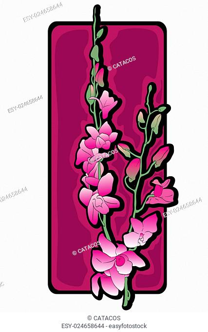 Long orchids clip art over purple label isolated on white