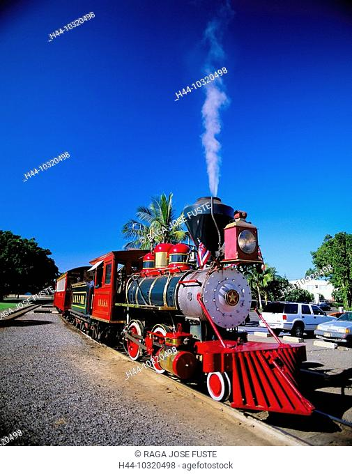 10320498, railway, historical, USA, America, North America, Hawaii, Maui, Lahaina city, Sugar Cane Train, steam, vapor, steam lo