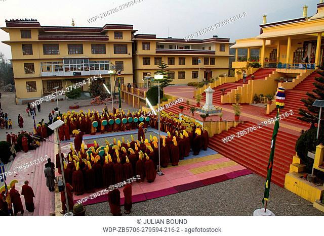 Tibetan Buddhist monks and the temple of Gyuto monastery, Dharamshala, India