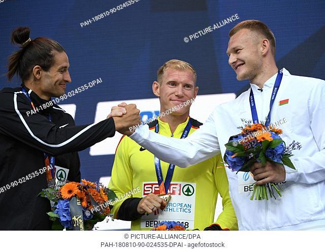 10 August 2018, Germany, Berlin: Athletics, European Championships Award Ceremony on the European Mile at Breitscheidplatz, Decathlon