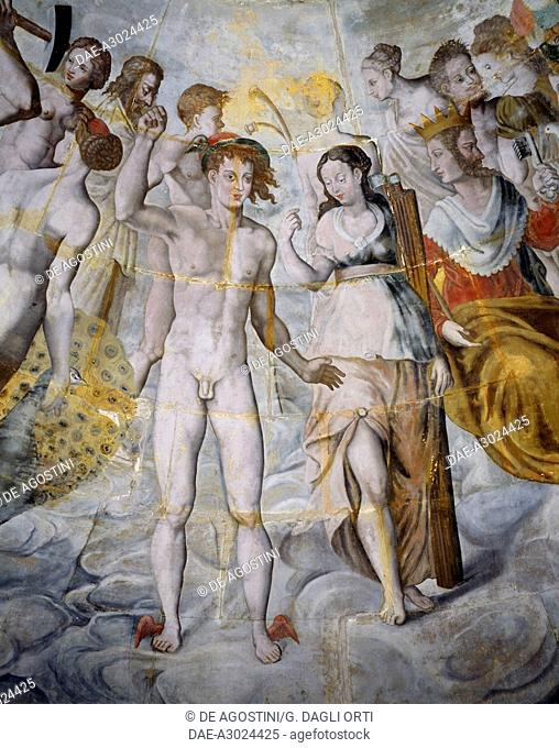 Mercury, messenger of the gods and Psyche, Janus on the right, frescoes in the gilded tower of the Ligue, Fontainebleau School