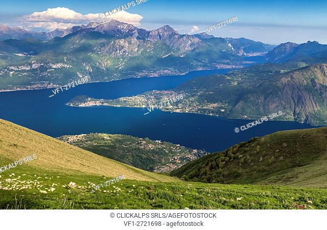 View towards Bellagio and Lecco from mount Tremezzo, Como Lake, Lombardy, Italy