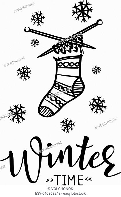 'Winter time' vector poster template with knitted sock. Hand written lettering, sparkling typography