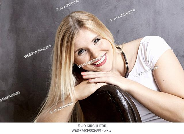 Portrait of smiling blond woman