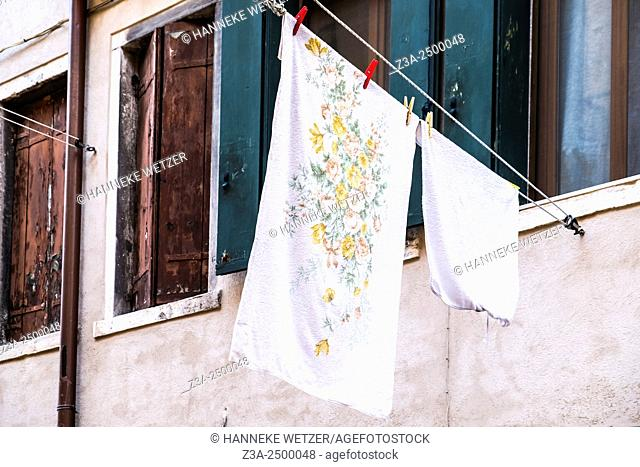 Laundry hanging outside in Venice, Italy, Europe
