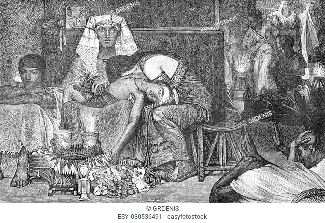 The Tenth Plague of Egypt, Alma Tadema table, vintage engraved illustration. Magasin Pittoresque 1880
