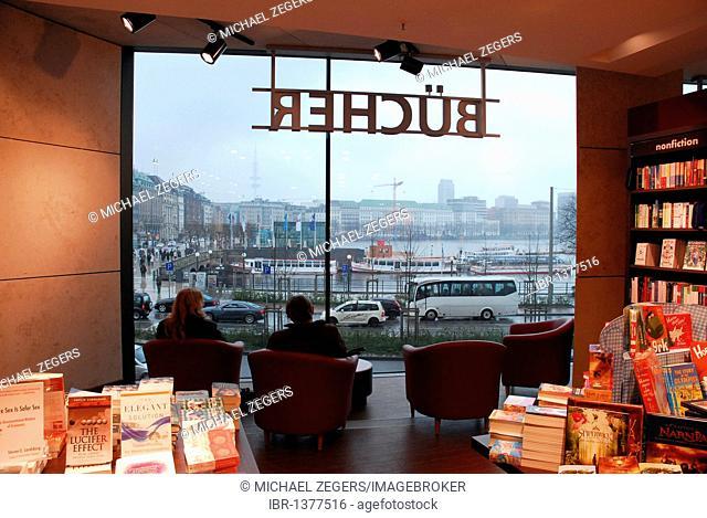 Window with views of the Inner Alster lake, lettering Buecher, books, Thalia bookstore, Europa-Passage, Ballindamm, Hamburg, Germany, Europe